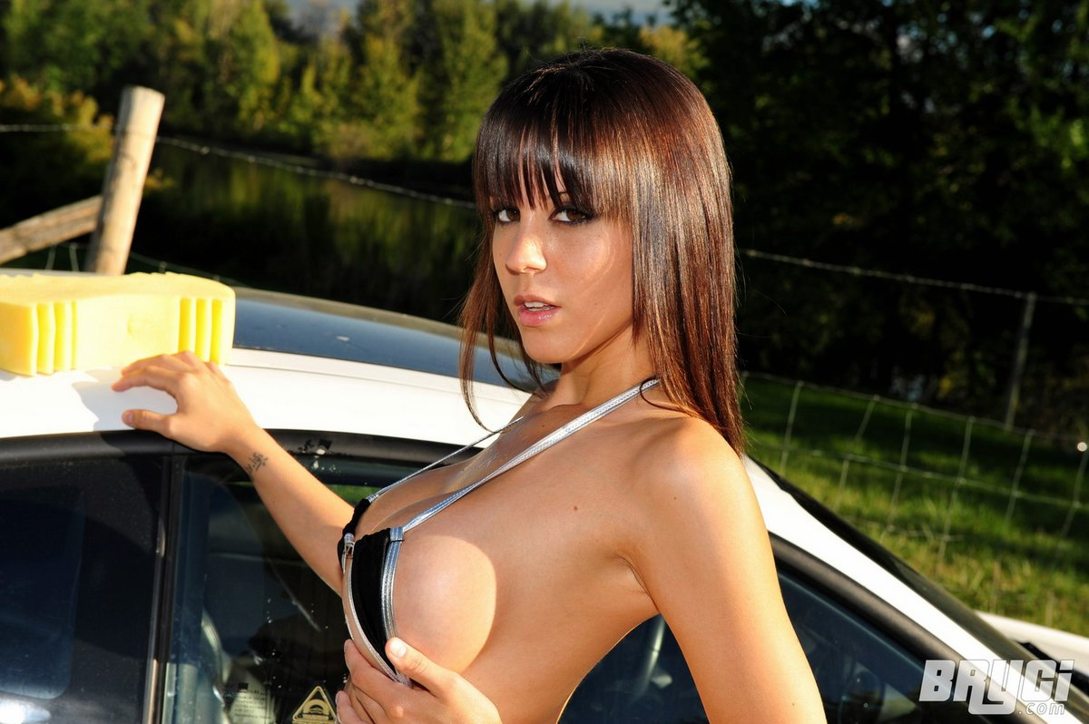 Nude females in car wash #7