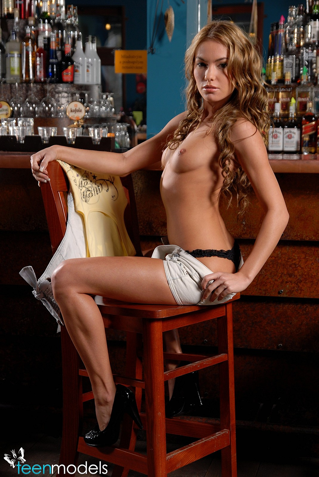 Naked barmaid